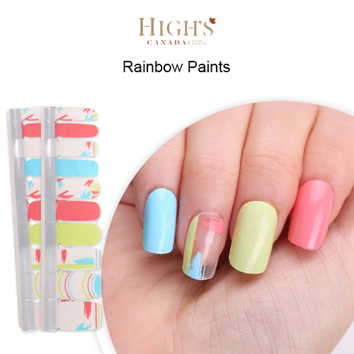 Nail Polish Strips, Exclusive Design, Rainbow Paints – Highs Canada